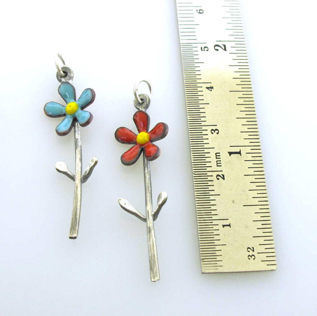 enameled flower charms