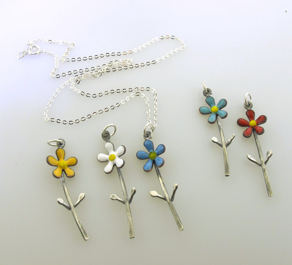 colorful flower charm necklace