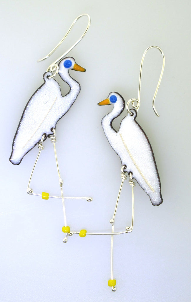enameled bird earrings