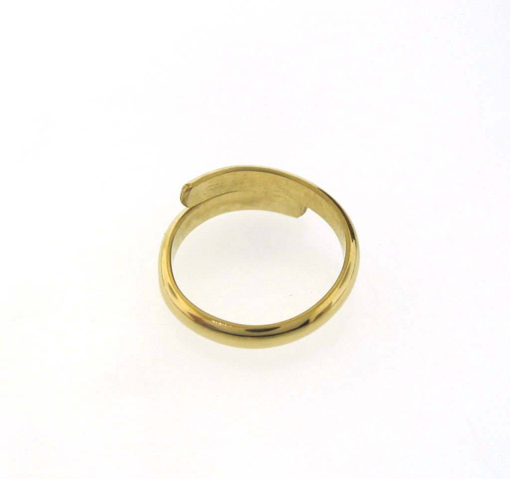 open gold ring band, twist ring