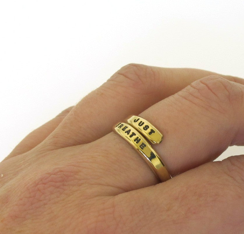 yellow gold alternative, hand stamped ring
