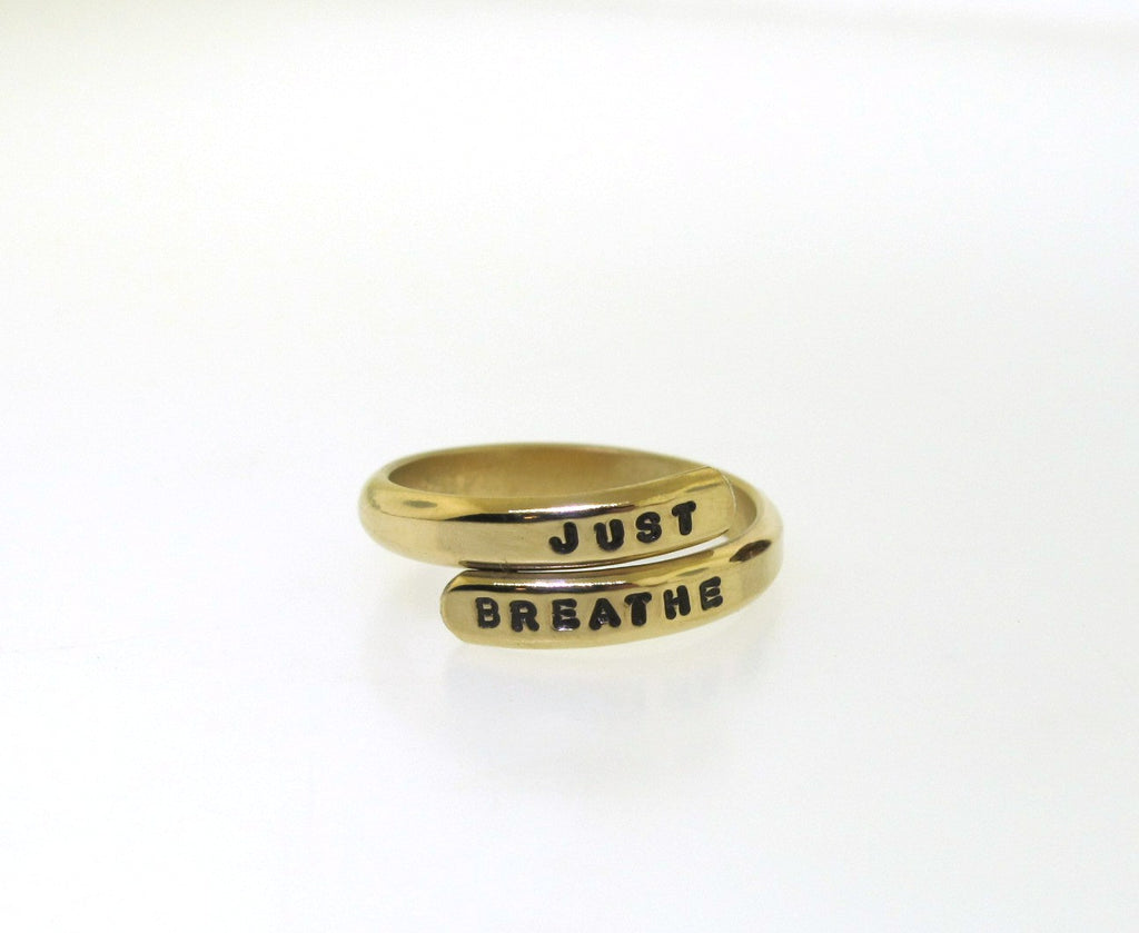 just breathe ring, yellow gold