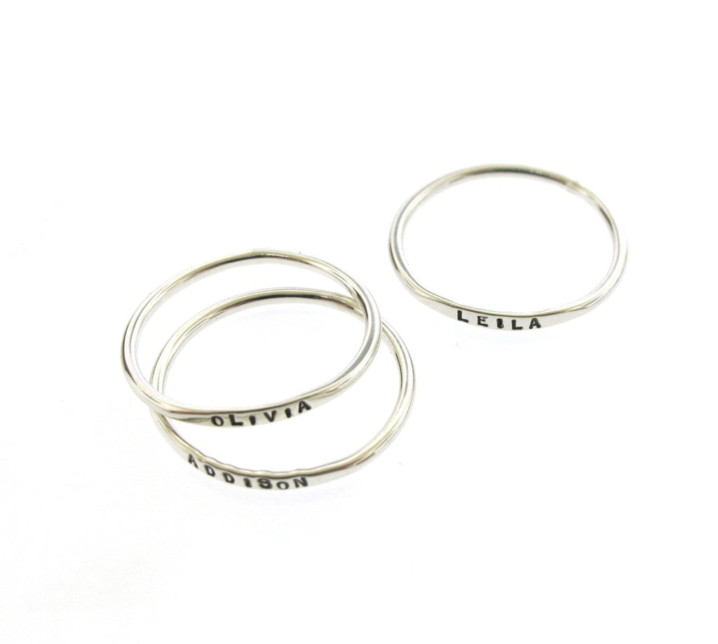 thin and dainty stackable rings