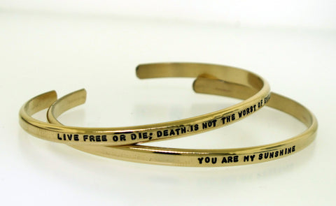 Gold filled Cuff Bracelet - with your custom message