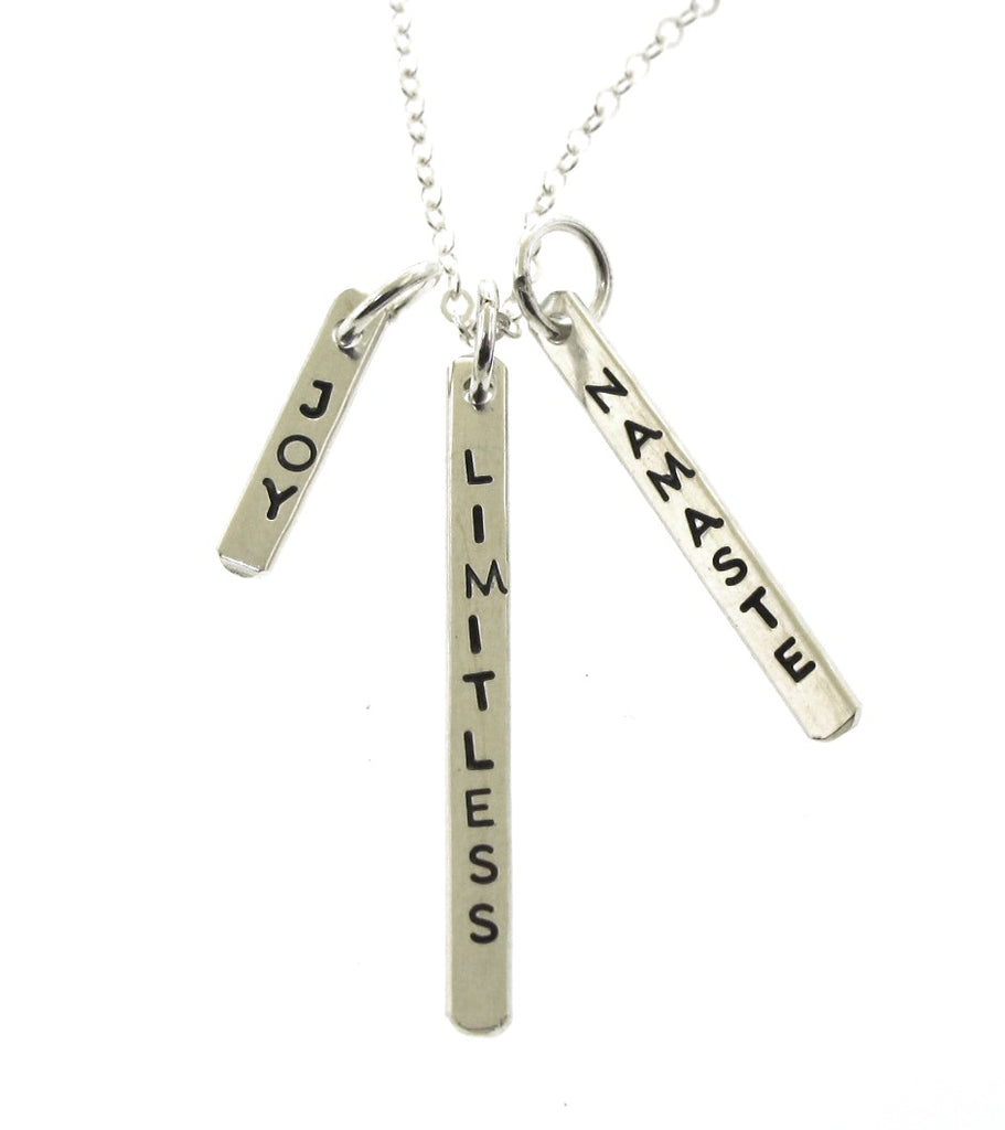 sterling silver word charm necklace