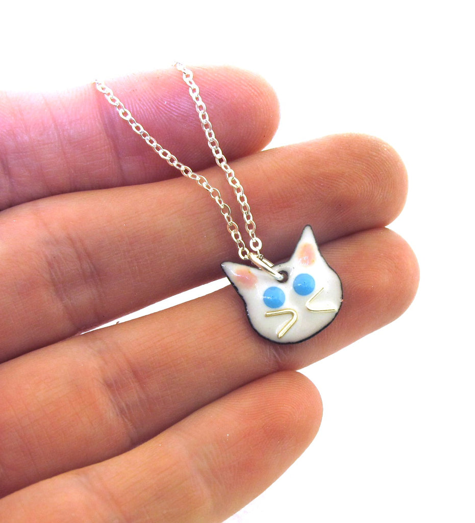 small white cat charm