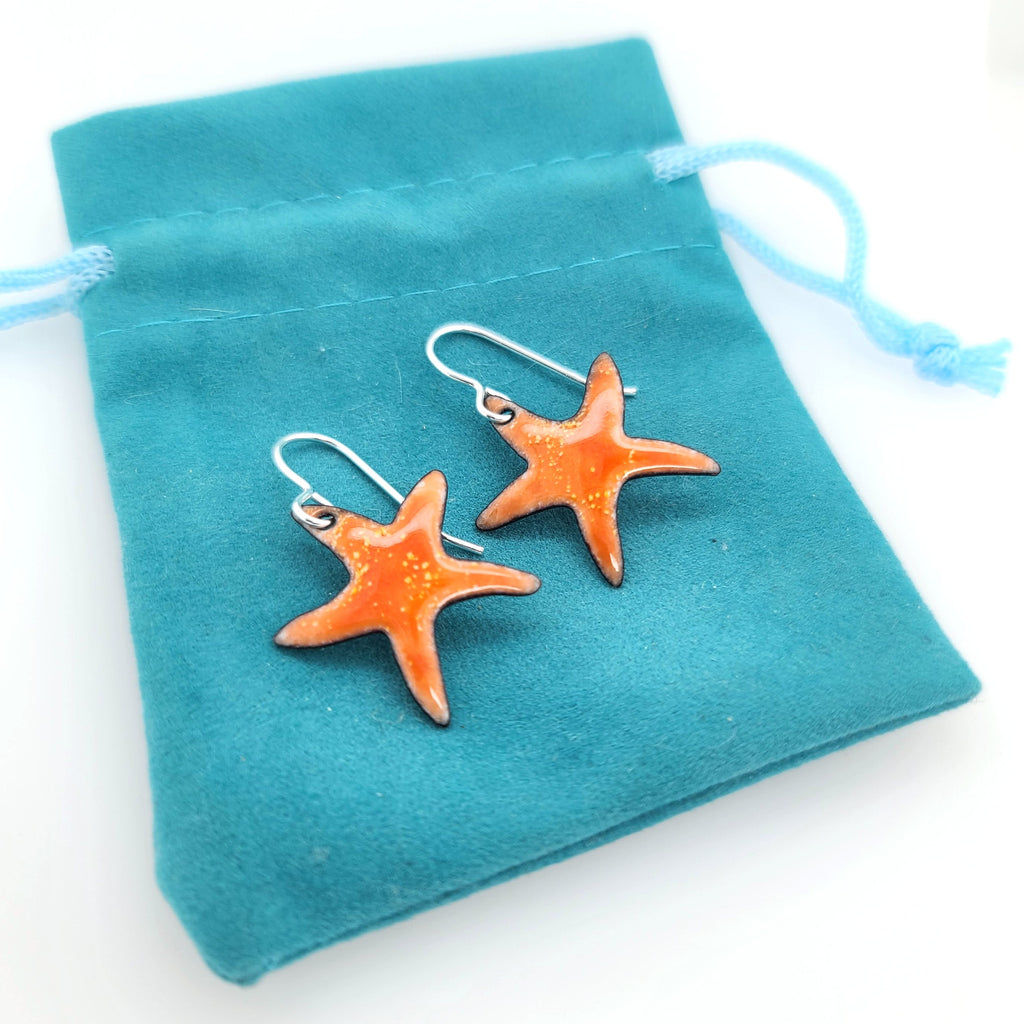 orange starfish earrings