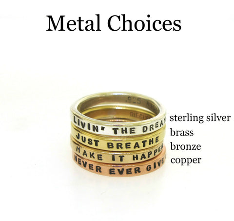Smooth Like Butter Posey Rings, choice of copper, bronze, brass, or sterling silver, 1mm font