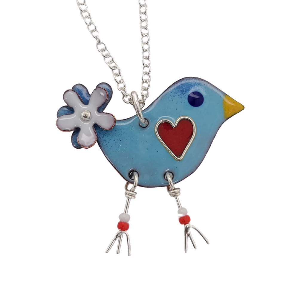 blue bird pendant with red heart