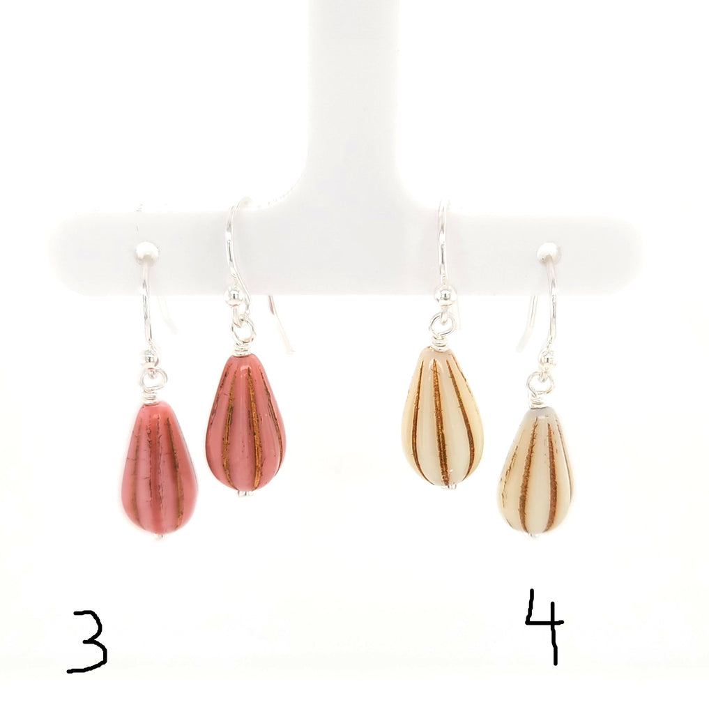 pink and cream drop earrings