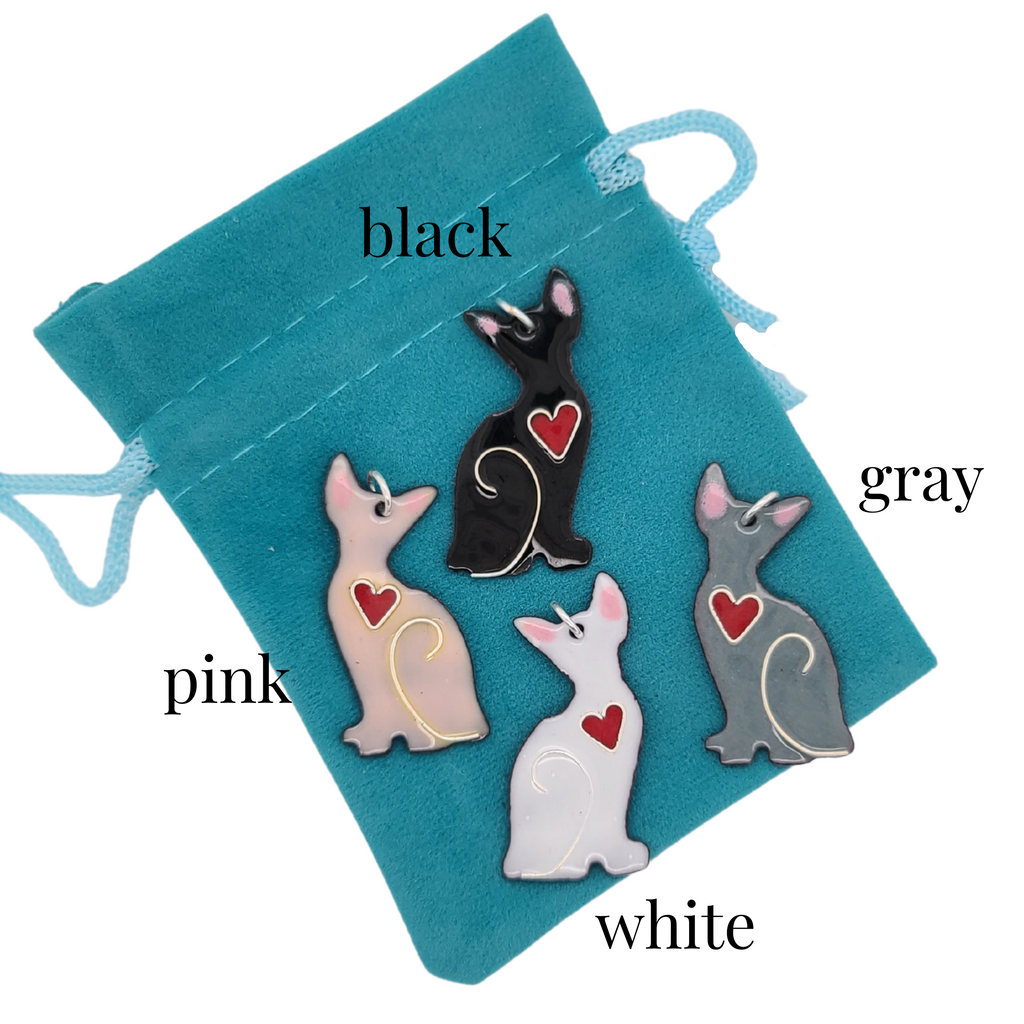 black white pink and gray cat charms