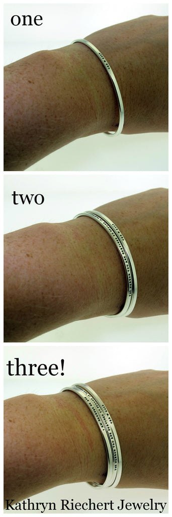 examples of one two or three handstamped silver cuff bracelets made by kathryn riechert jewelry