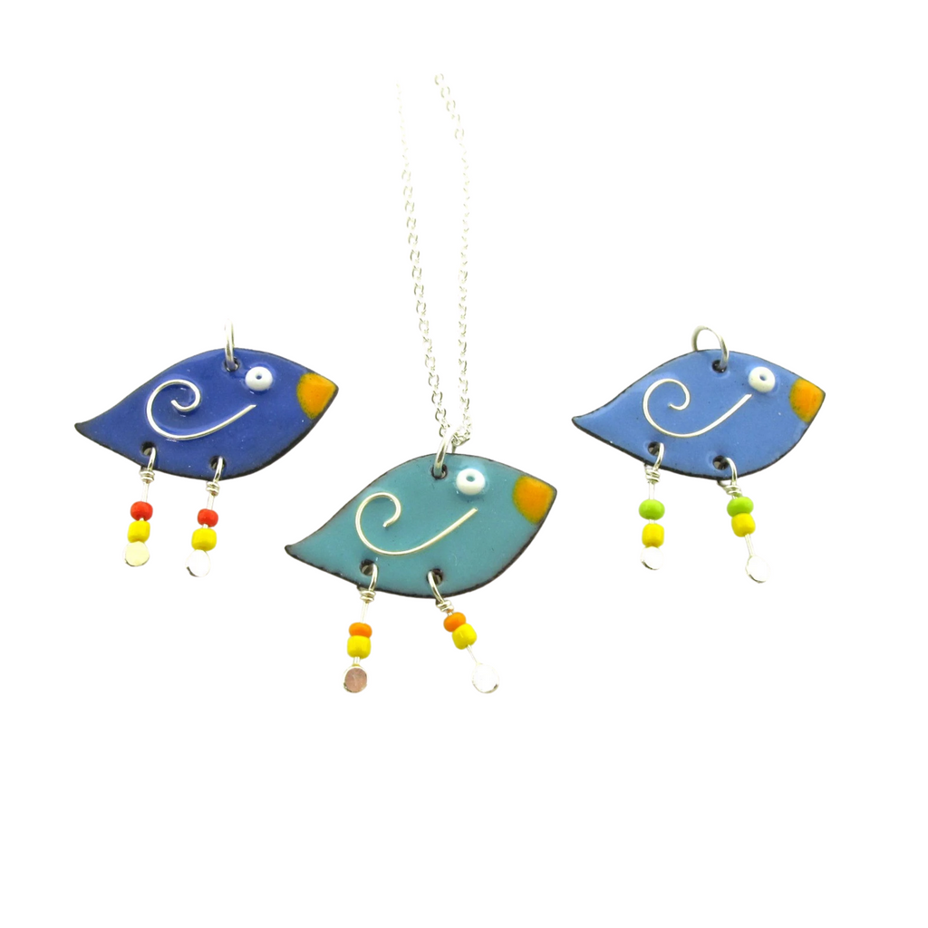 whimsical enameled bird jewelry