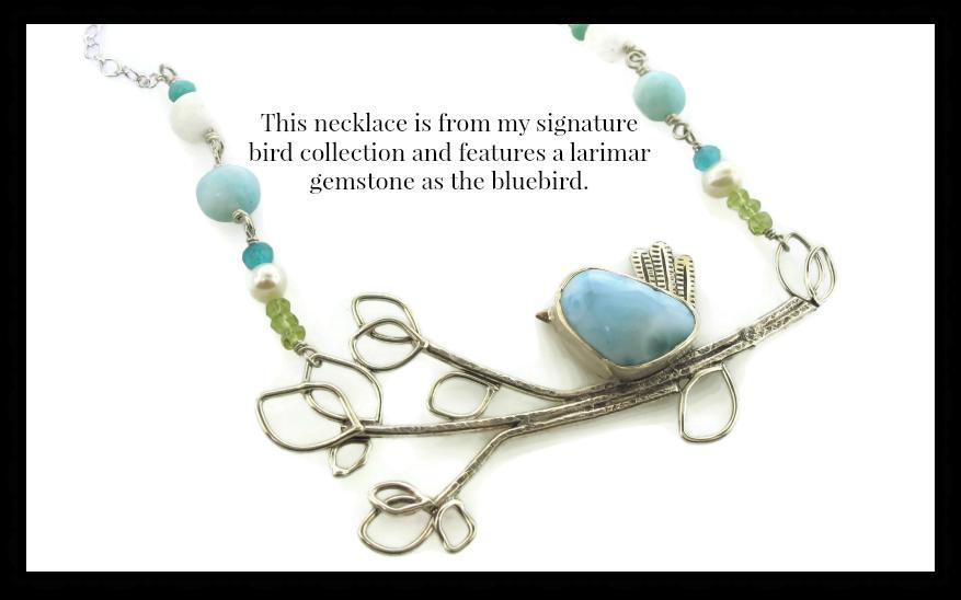 statement necklace with larimar gemstone