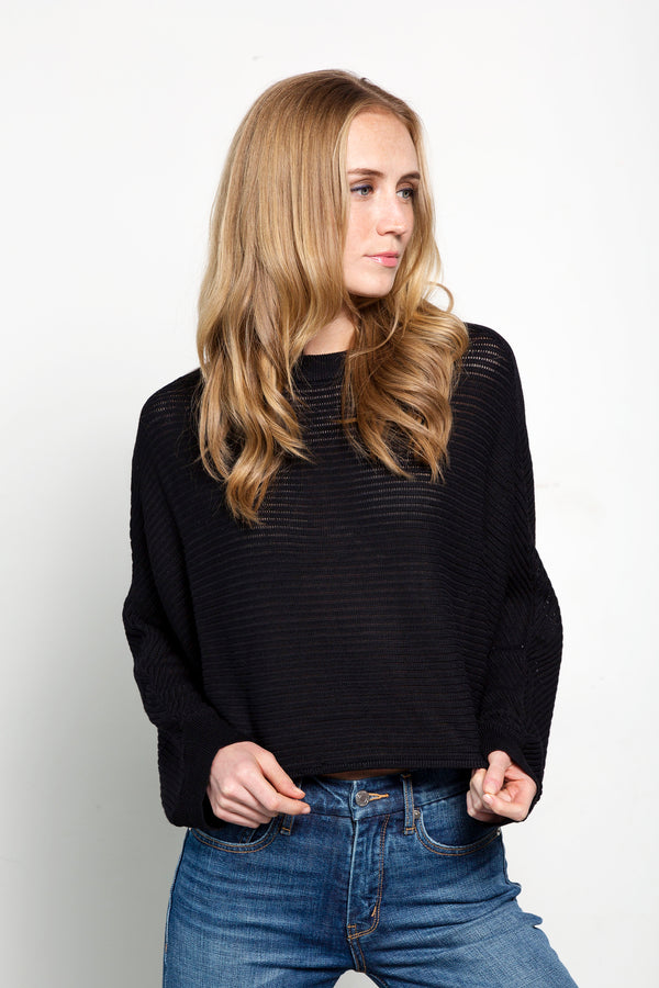 Black Cropped Ribbed Sweater