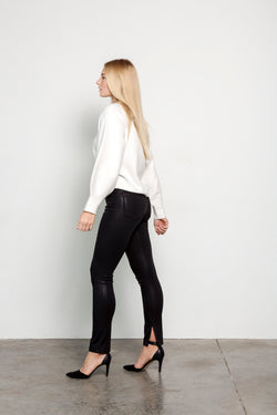 High Rise Black Coated Skinny Jeans