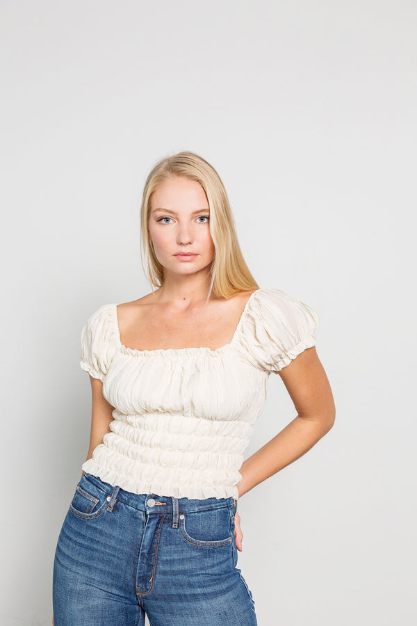 Cream Short Sleeve Crop Top