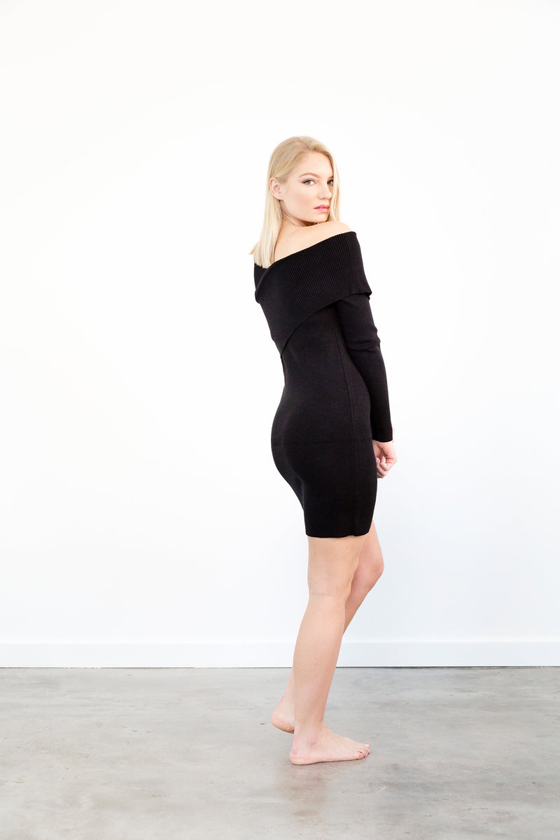 Asymmetrical Black Sweater Dress