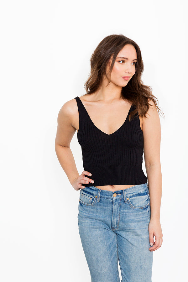 Black Ribbed Tank