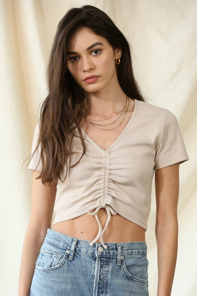 Ribbed Front Tie Crop Top