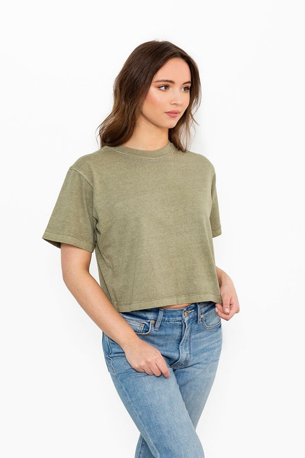 Green Relaxed Crop Tee