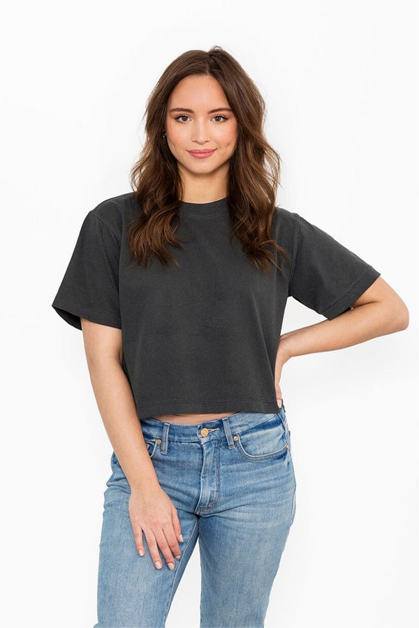 Black Relaxed Crop Tee