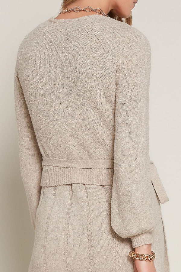 Frosted Wheat Knit Wrap Top