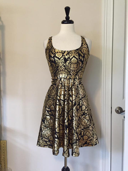 Gold Wallpaper Skater Dress