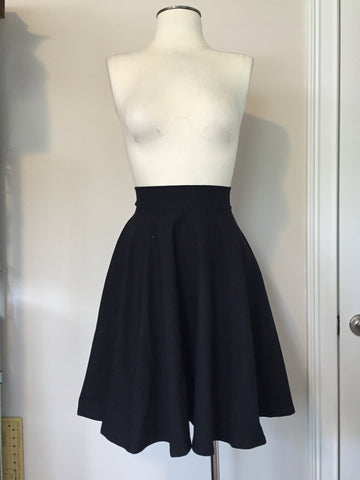 Black Cotton/Lycra Circle Skirt
