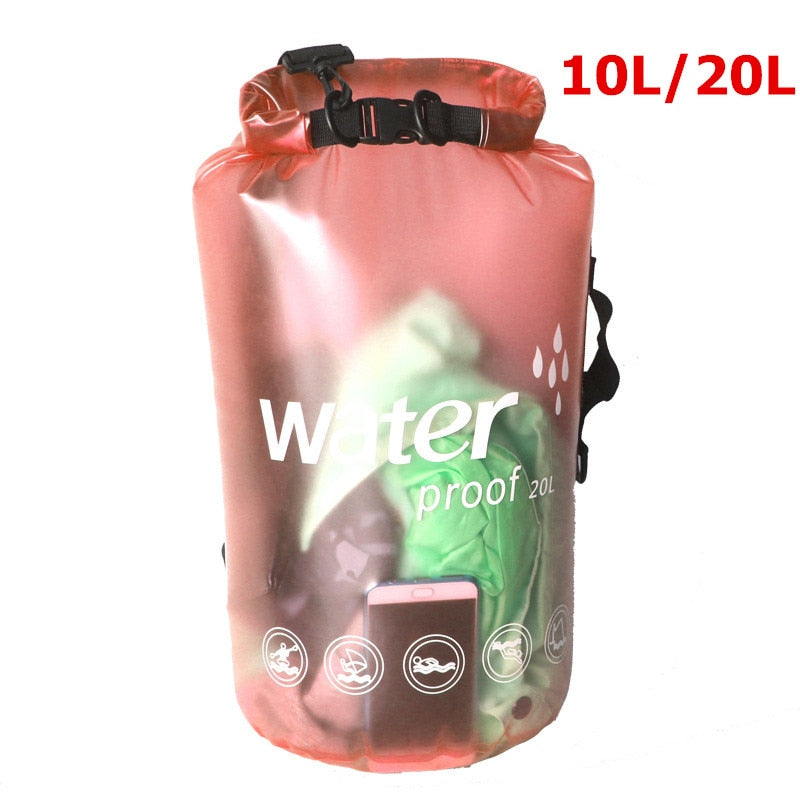 Transparent 10 /& 20 Liter Floating Sack for Boating Swimming Kayaking Premium Waterproof Dry Bag by SandShark Keeps Gear Dry. Side and Shoulder Strap Beach and Watersports Camping