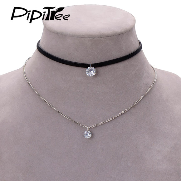 Trendy Leather Choker Necklace with Crystal Charm