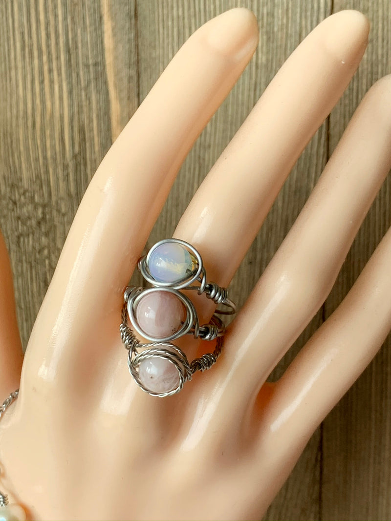 White Opal Ring Wire Wrapped in Stainless Steel Wire
