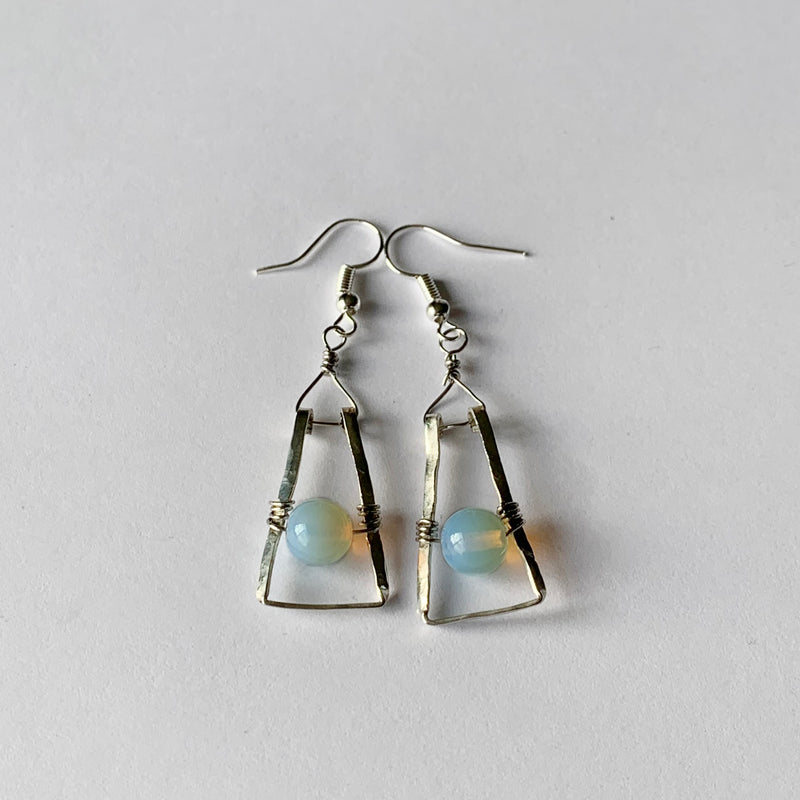White Opal Dangle Earrings Wrapped Around Sterling Silver | Stainless Steel Earwires
