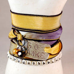 Iowa Hawkeye, Black and Gold Bracelet, Team Bracelet