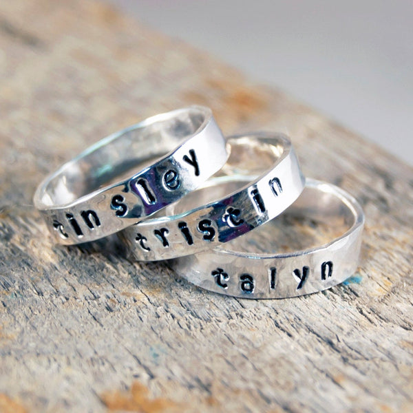 Personalized Stackable Name Ring, Personalized Stacking Rings, Personalized Stackable Mothers Ring, Personalized Name Ring,