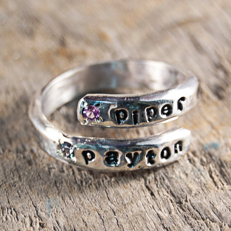 Mothers Ring, Birthstone Ring for Mom, Mothers Birthstone Ring, Stackable Rings, Name Ring, Ring with Birthstones, Sterling Silver Ring