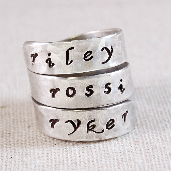 Mothers Ring Name, Personalized Ring for Mom, 3 Name Ring, Custom Ring, Hand Stamped Ring, Mothers Name Ring, Triple Wrap Ring