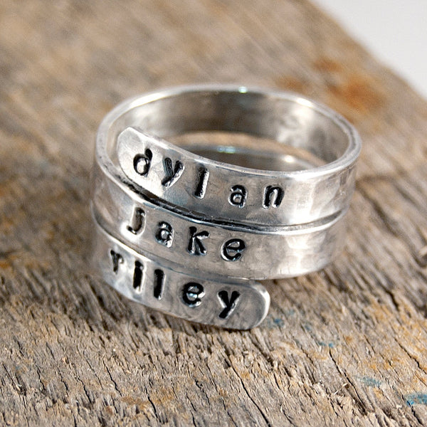 Graduation Ring, Class Ring Sterling Silver Handstamped Ring