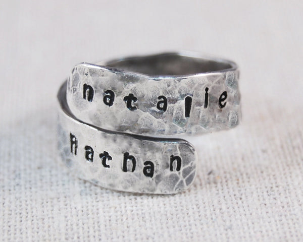Personalized Mothers Ring, Personalized Wrap Ring, Custom Wrap Ring, Mothers Name Ring