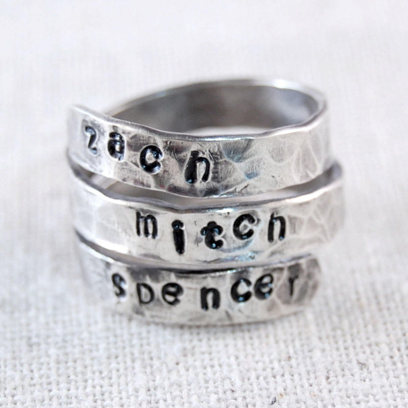 Personalized Mothers Ring, Grandma Jewelry, Wrap Rings