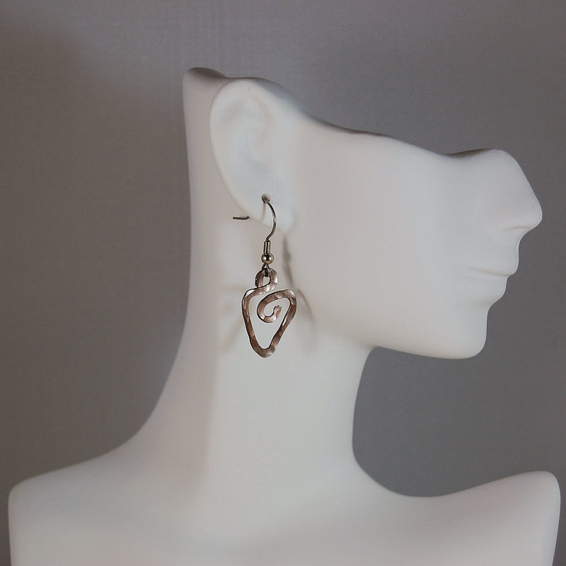 Gunmetal Heart Aluminum Earrings, Hammered, Sterling Silver Earwires