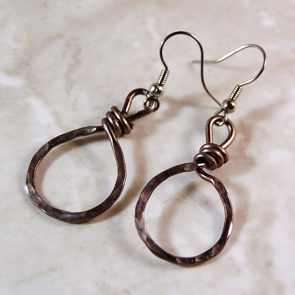 Gunmetal Aluminum Wire Wrapped Earrings