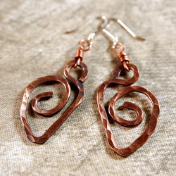 Copper Earrings, Hammered Hearts, Copper Wire