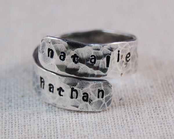 Mothers Ring Personalized Ring Sterling Silver Mother Ring Name Ring Hand Stamped Wrap Ring