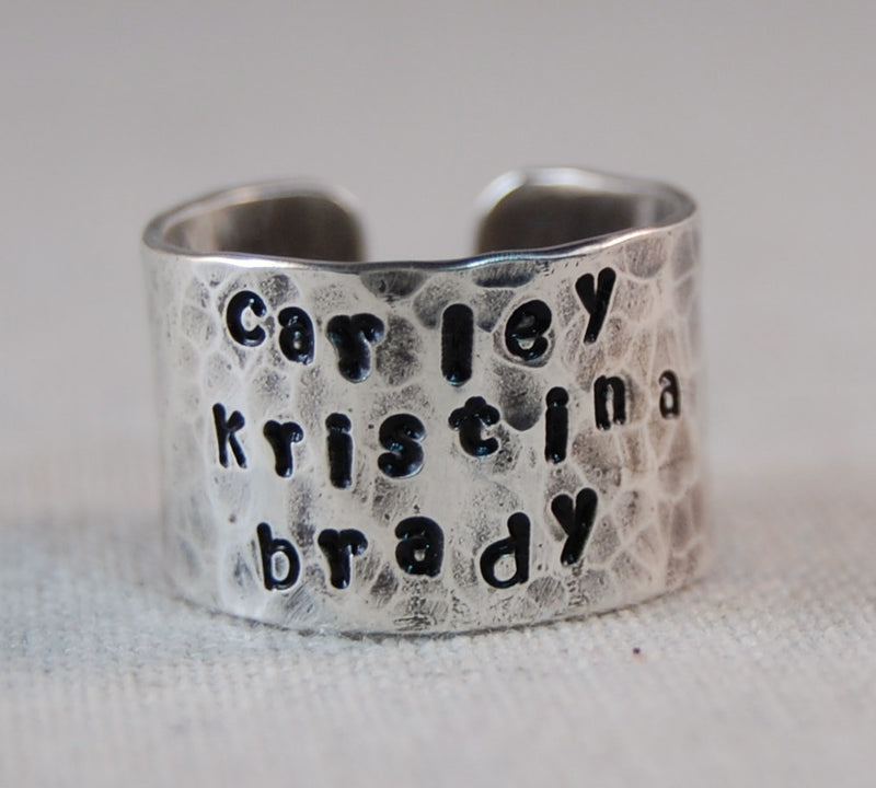 Name Ring Mothers Ring Gift Ideas for Girlfriend Gift Ideas for Her Hand Stamped Ring Personalized Name Ring Custom Name Ring