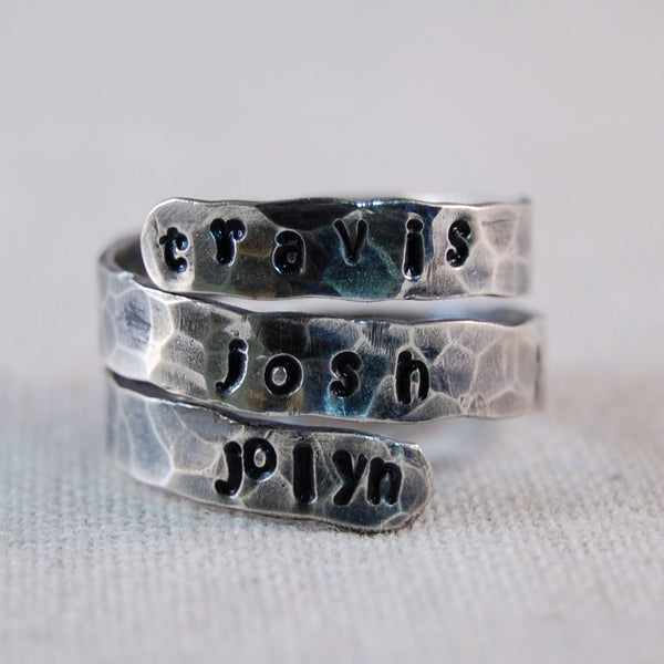 Mothers Ring Personalized Ring Sterling Silver Mother Ring Personalized WrapRing Name Ring