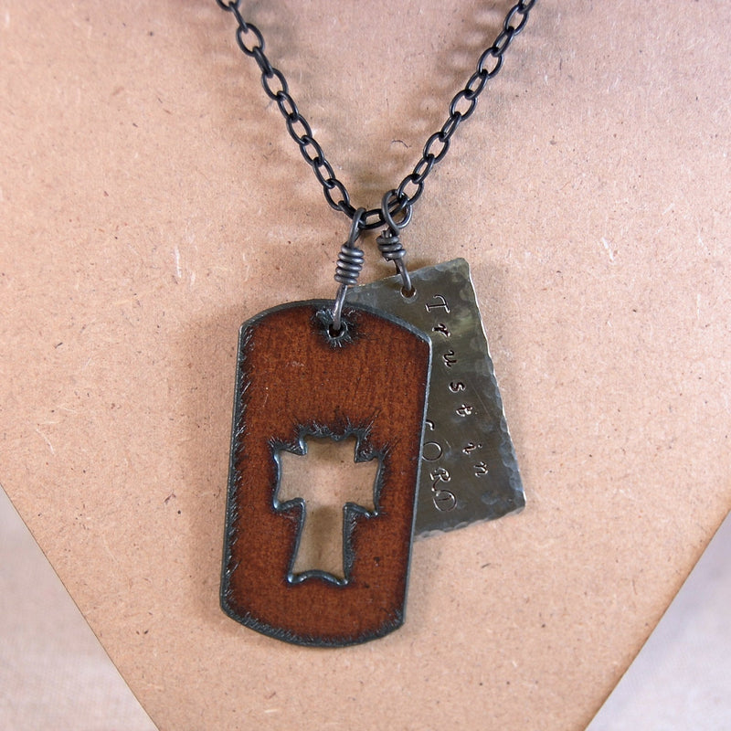 Cross Necklace, Inspirational Necklace, Dog Tag Necklace, Trust in the Lord