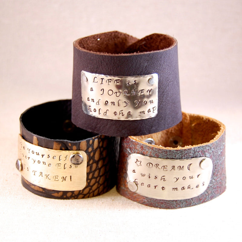 Inspirational Bracelet Leather Cuff Bracelet for women Mantra Bracelet Hand Stamped Bracelet