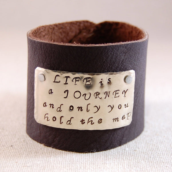 Mens Leather Cuff Bracelet with Custom Message