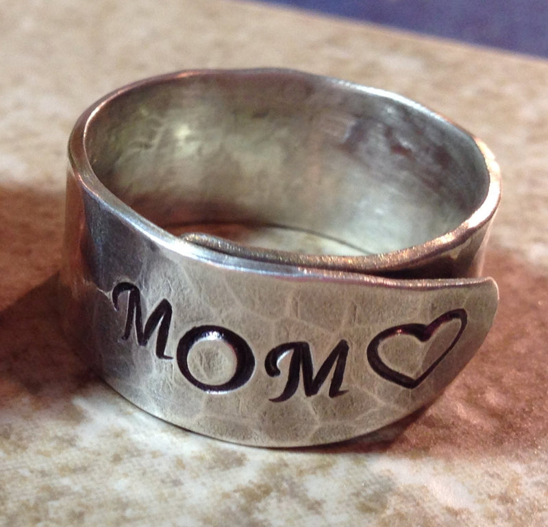 Mothers Ring, Ring for Mom, Sterling Silver Mother Ring, Hand Stamped Wrap Ring, Mom Ring